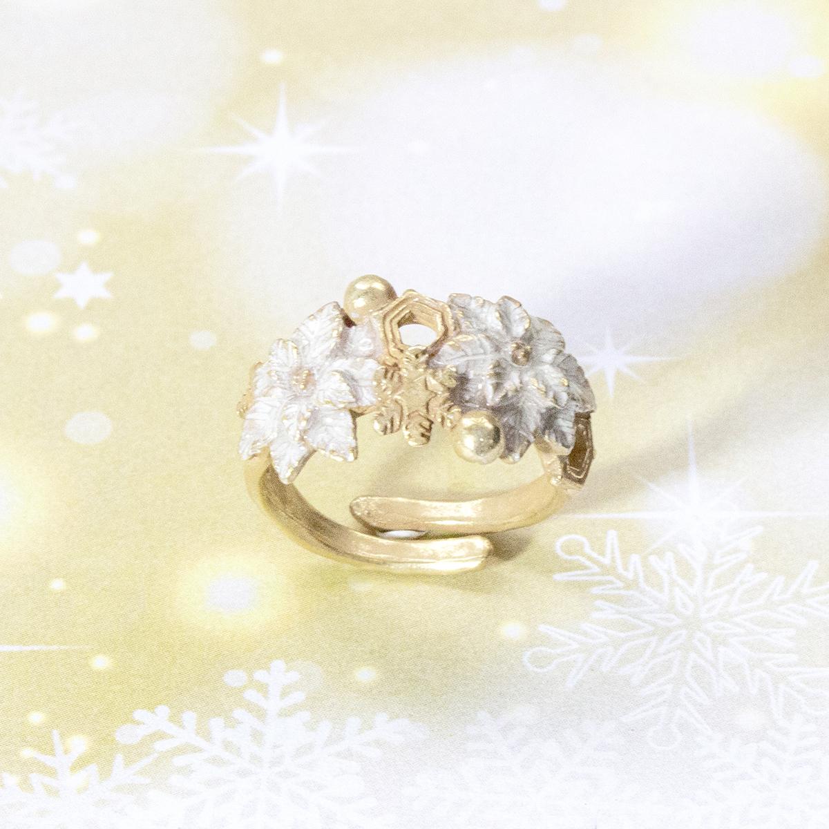 <限定>ホワイトポインセチアリング /リング(フリーサイズ)<クリスマス限定商品>