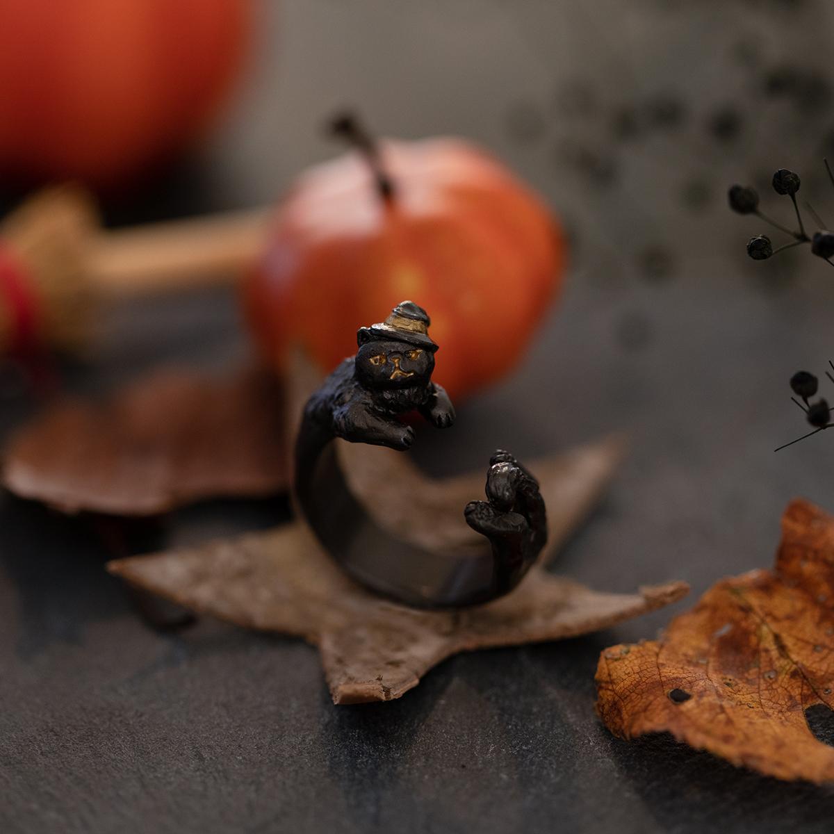 <限定>黒猫のエナンリング / リング(フリーサイズ)【ハロウィン限定商品】