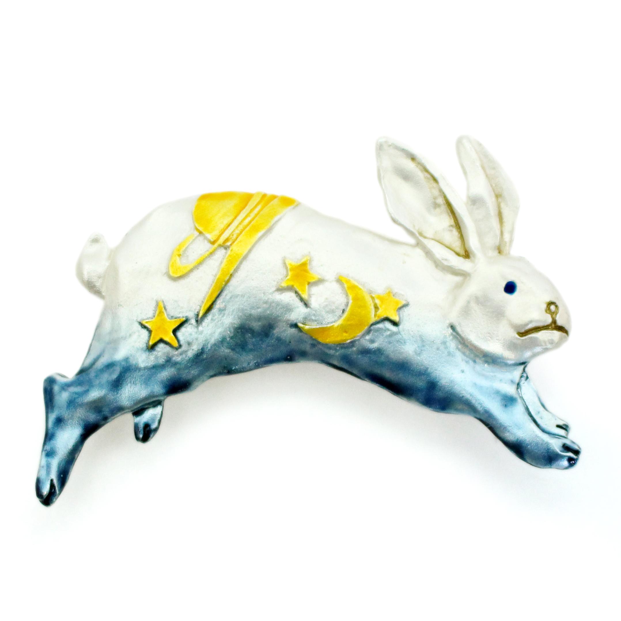 ヨゾラウサギ(ブルー)帯留め / 帯留め※専用豪華ボックス入り