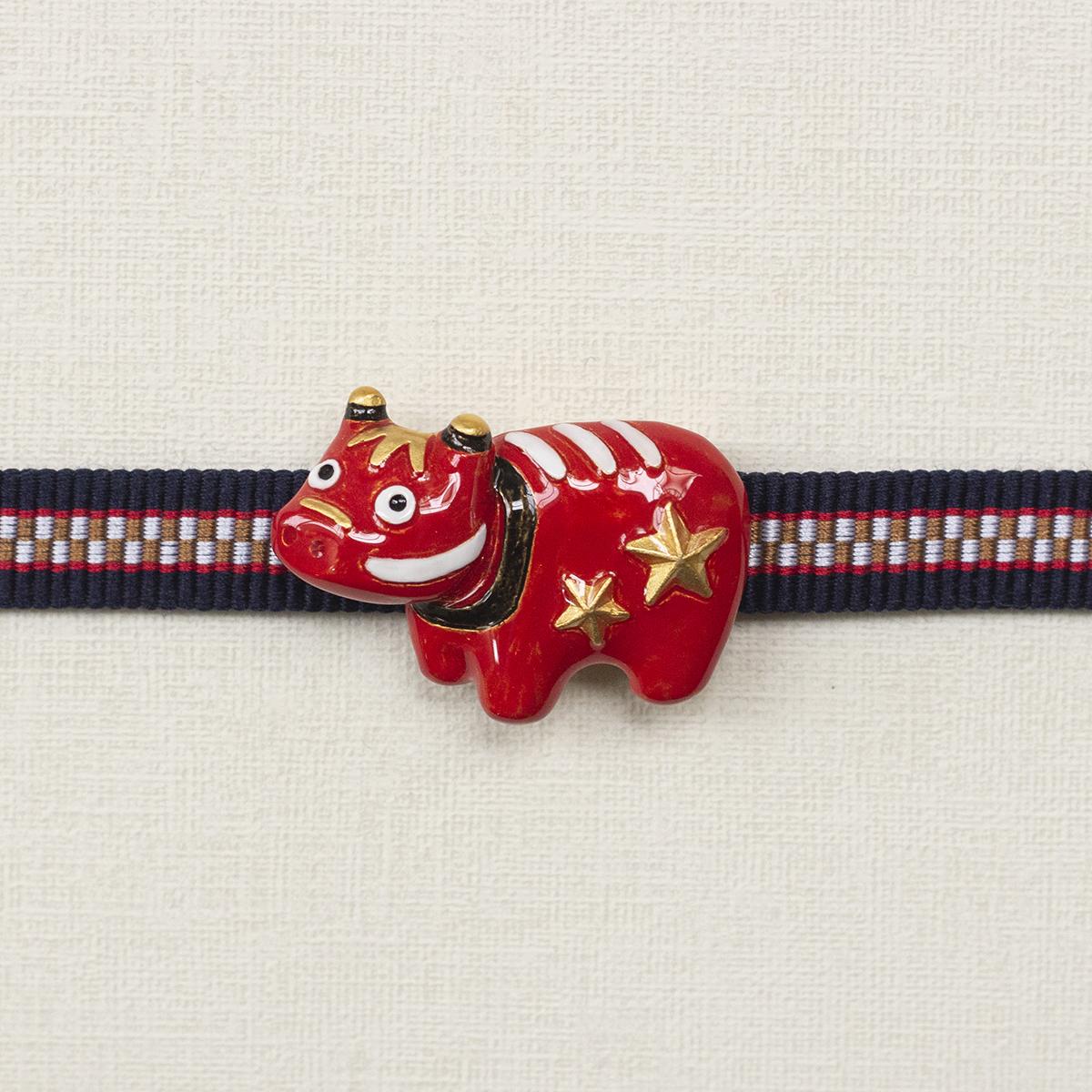 【1月誕生色モチーフ】赤べこ帯留め / 帯留め※専用豪華ボックス入り