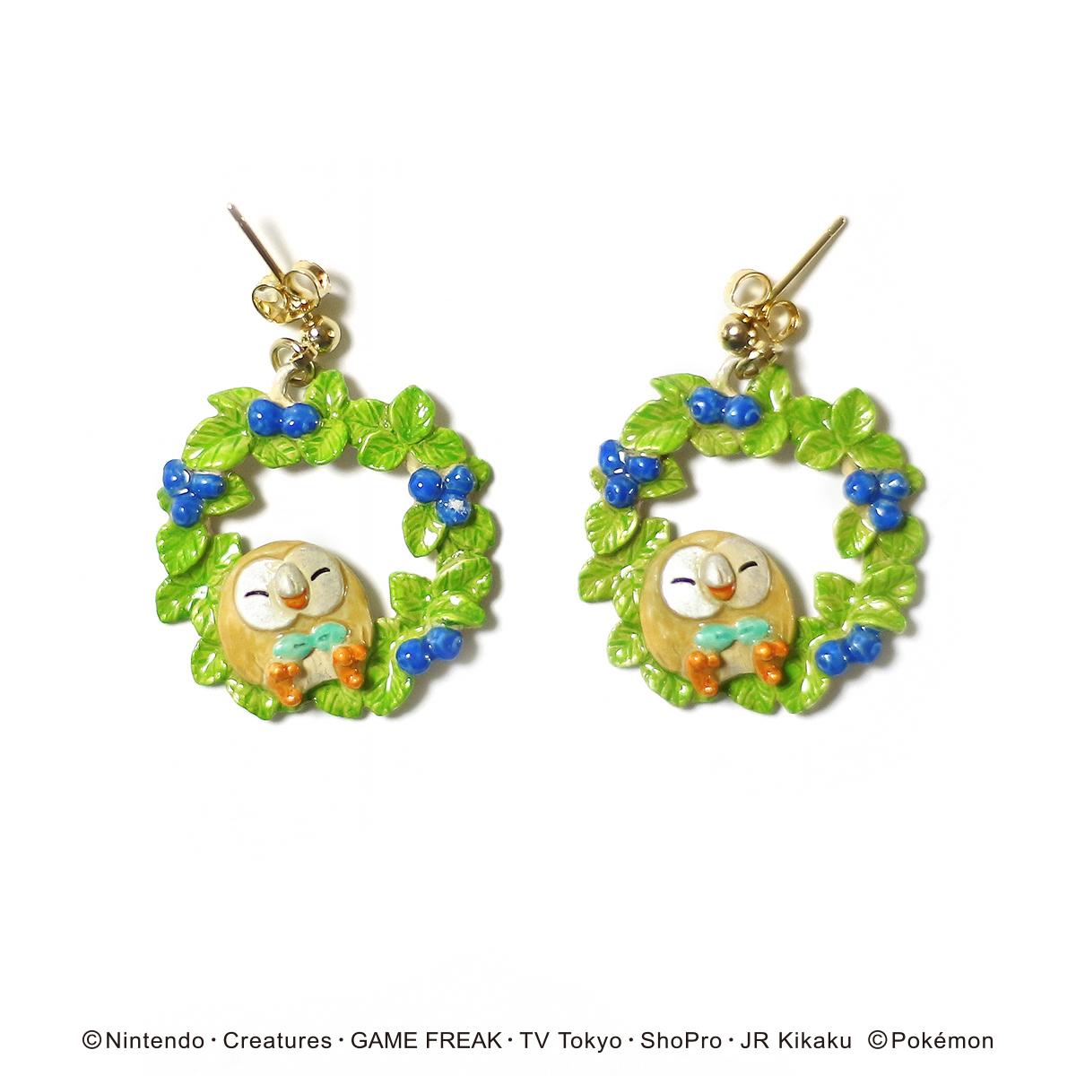 【5月誕生色モチーフ】モクローと木の実ピアス / ピアス【ポケモン第3弾】