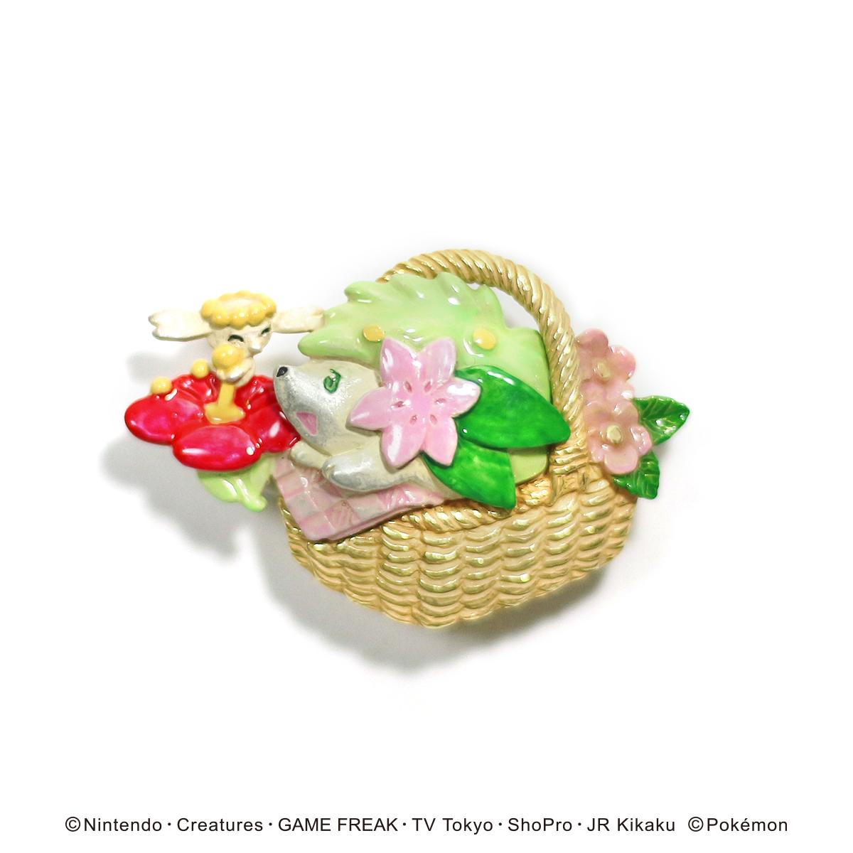 【5月誕生色モチーフ】シェイミとフラベベブローチ / ブローチ【ポケモン第3弾】