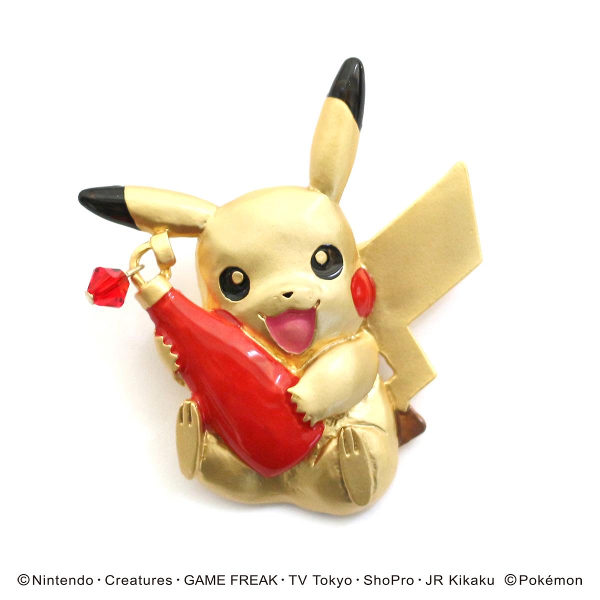 【スプリングセール】ピカチュウとケチャップ ブローチ / ピンブローチ【ポケモンシリーズ】