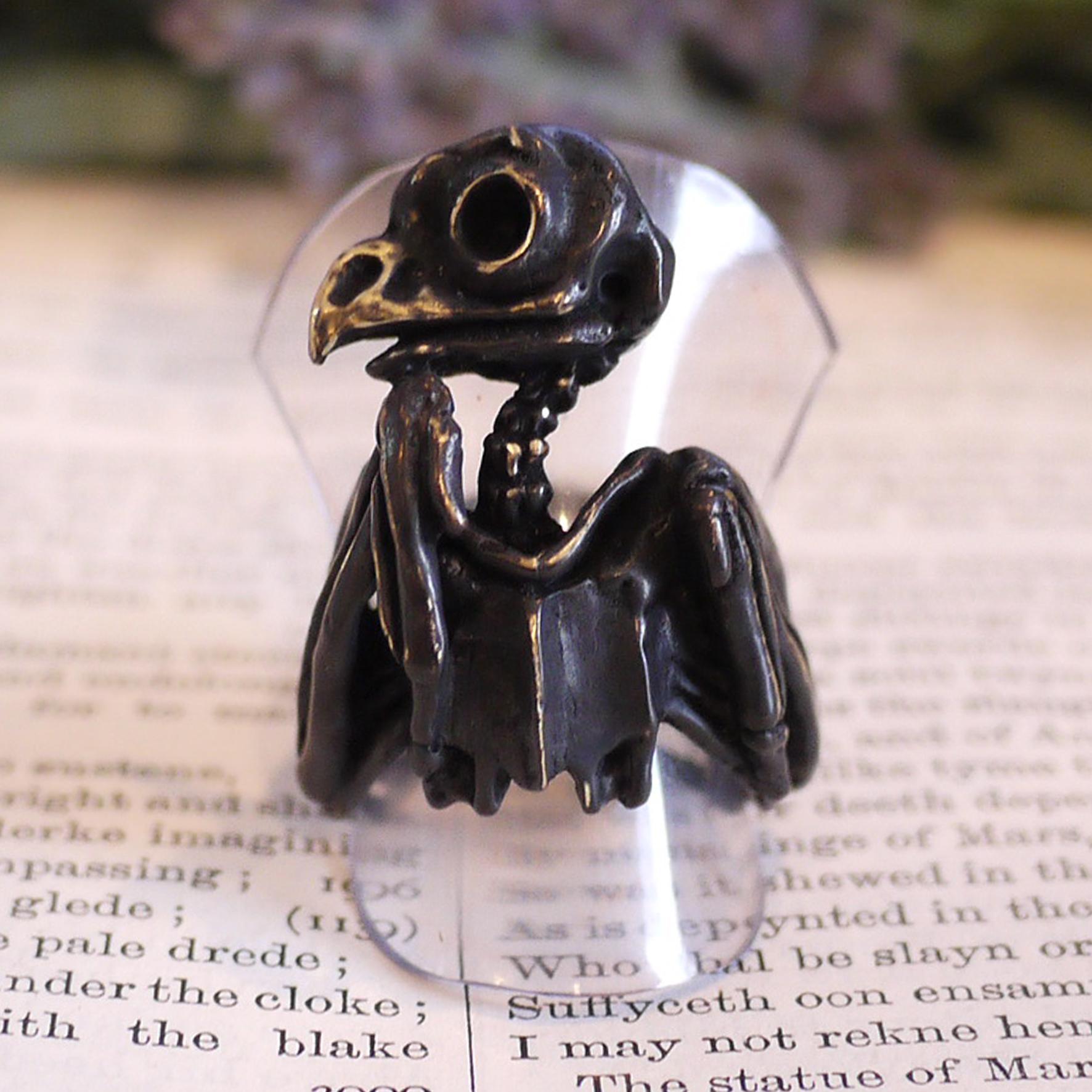 【セール】フクロウ骨格(ブラック) / リング 【Molly Tippett】(専用BOX付き)