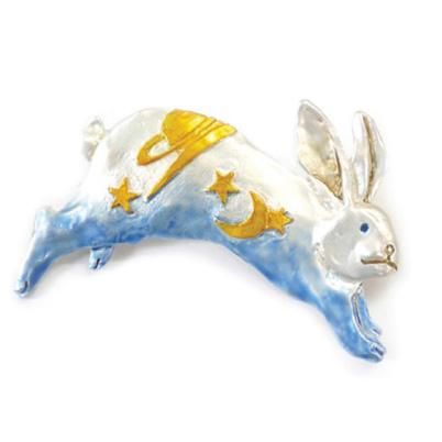 【3月誕生色モチーフ】ヨゾラウサギ(ブルー) / ピンブローチ