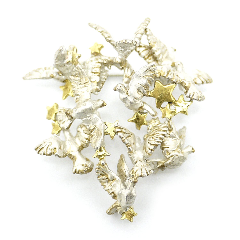 【2月誕生月モチーフ】オールトの鳩シルヴェンブローチ/ピンブローチ